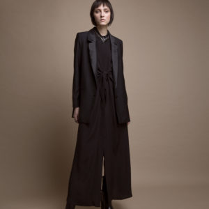 Long dress in silk crepe de chine