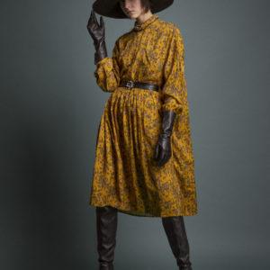 Midi floral dress in pure viscose - curry