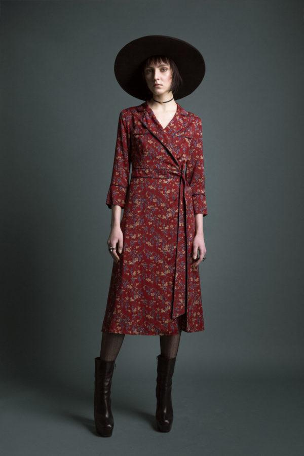 Midi wrap dress in pure viscose