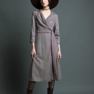 Midi wrap dress in pure wool