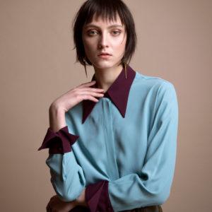 Multicolor shirt in silk crepe de chine