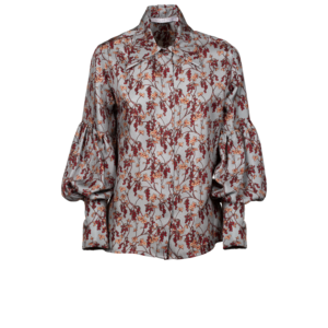 Puff sleeves floral shirt in pure silk - still