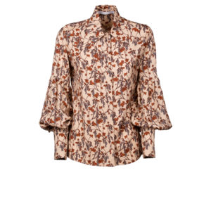 Puff sleeves floral shirt in pure viscose - still