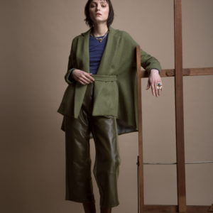 3/4 length pants in pure leather and alpaca merino wool