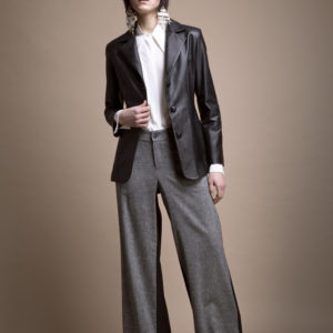 Bicolour palazzo pants in grisaille and wool