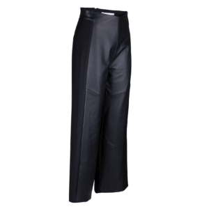 3/4 length pants in pure leather and wool